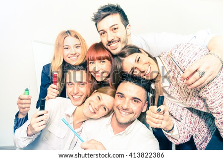 Group of happy people employee workers taking selfie - Business concept of human resource on working fun time - Start up entrepreneurs at office - Bright desaturated filter with focus on low right guy - stock photo