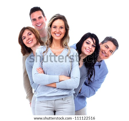 Group of happy people. Isolated on white background.