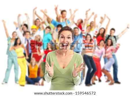 Group of happy people jumping isolated on white background. - stock photo