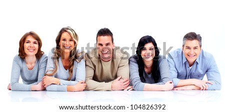 Group of happy people lying on the floor. Isolated over white background. - stock photo