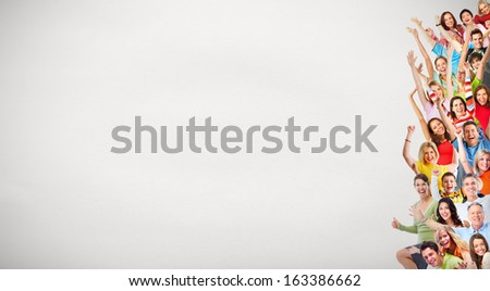 Group of happy people over grey background. - stock photo
