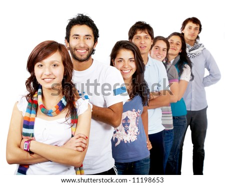 group of happy people smiling isolated over a white background - stock photo