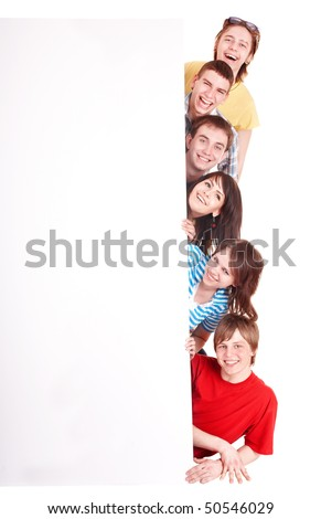 Group of happy  people with banner.Isolated. - stock photo