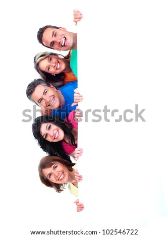 Group of happy people with banner. Isolated over white background