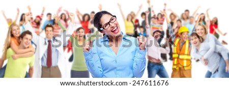 Group of happy people workers. Isolated over white background. - stock photo
