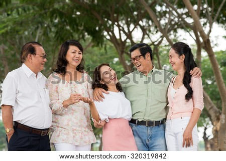 Group of happy senior people having fun together