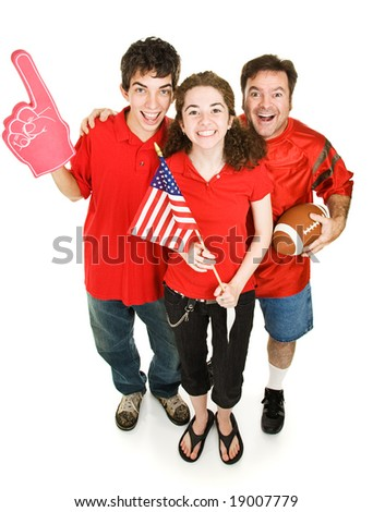 Group of happy sports fans - father, daughter, and her boyfriend - cheering for their football team.  Full body isolated on white. - stock photo