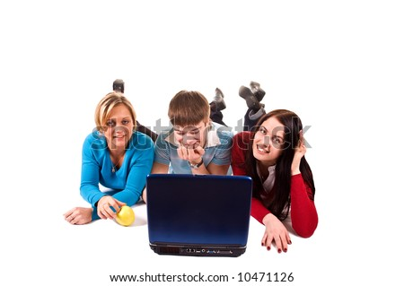 group of happy students with the laptop (isolated on white) - stock photo