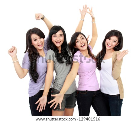 Group of happy teenagers celebrating success - stock photo