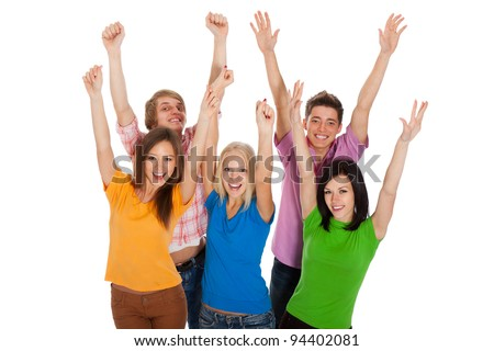 Group of happy teenagers. Smiling and looking at camera. Hands arms up. Isolated white background, front view. top angle view of happy young students celebrating success - stock photo