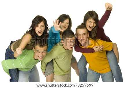 Group of 6 happy teenagers. There're 3 couples. Boys are pick-a-backing girls. White background.