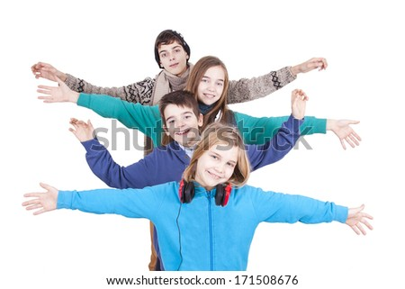 group of happy young boys over white background - stock photo