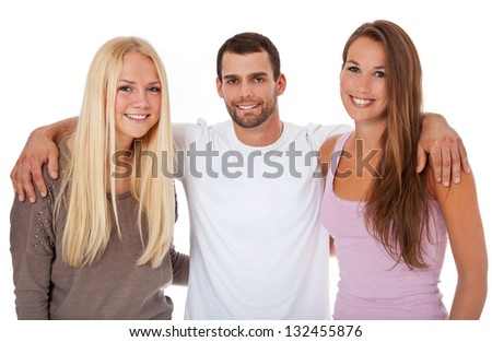 Group of happy young people. All on white background. - stock photo