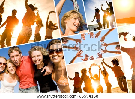 group of happy young people dancing at the beach on  beautiful summer sunset. collage