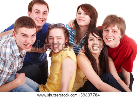 Group of happy young people. Isolated. - stock photo