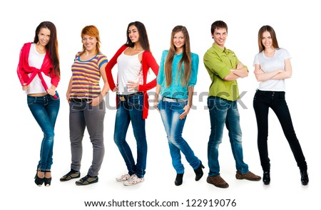 group of happy young people over a white background
