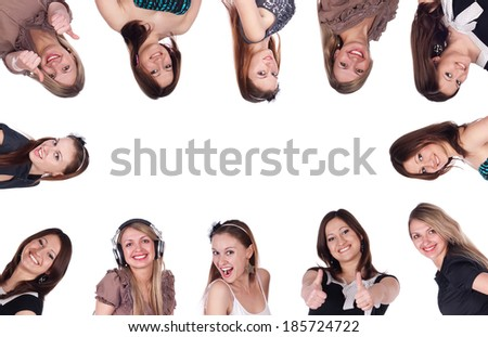 Group of happy young women in huddle isolated over white background. Collage