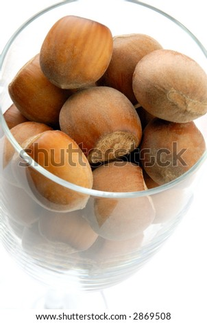 Group of hazelnut in a glass - stock photo