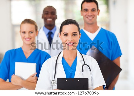 group of healthcare professionals in hospital - stock photo