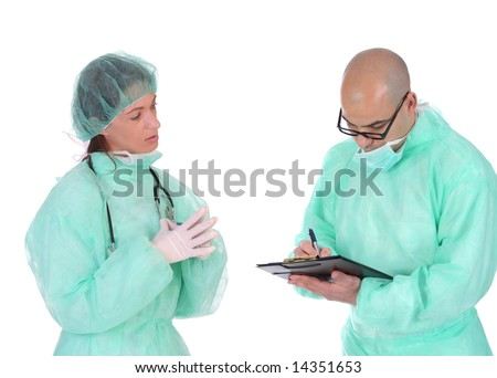 group of healthcare workers arguments on workplace