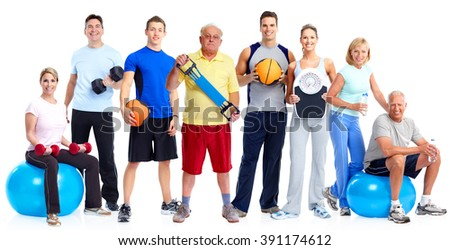 Group of healthy fitness people. - stock photo