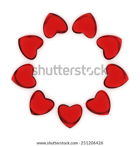 Group of heart shaped glossy red candies forming a circle with a subtle shadow.