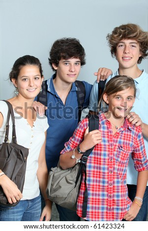Group of high-school students - stock photo