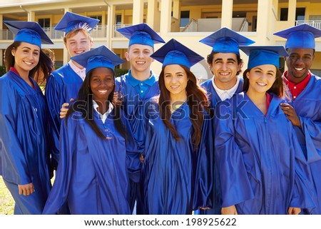 Group Of High School Students Celebrating Graduation - stock photo