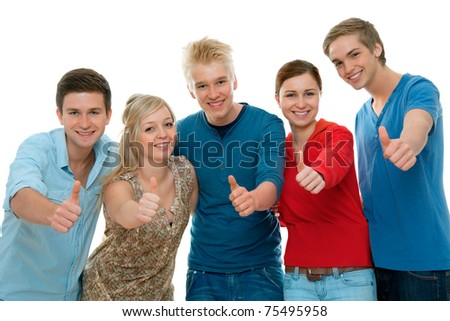 Group of high-school students holding  thumbs up and smiling.  Isolated on white background. - stock photo
