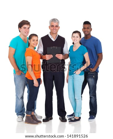 group of high school teacher and students isolated on white - stock photo