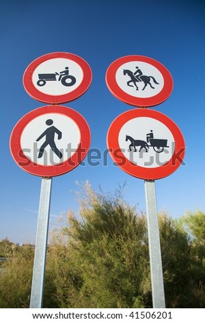 group of highway access prohibit signals in spain