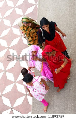 group of hindu people from top - stock photo