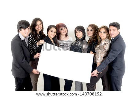 group of hispanic business people holding a banner ad on white - stock photo