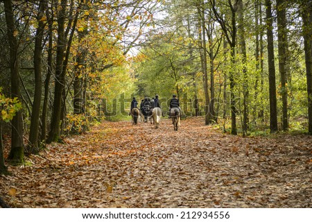 Group of horse riders in the forest in autumn - stock photo