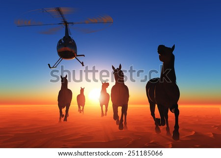 Group of horses and a helicopter in the desert. - stock photo