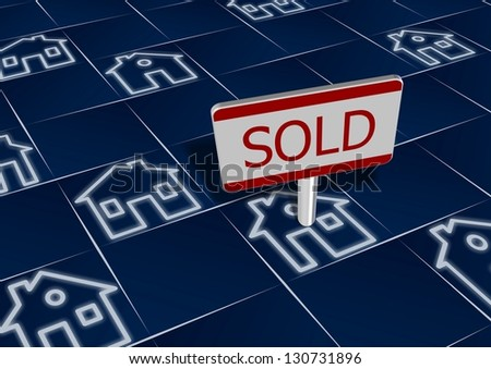 Group of house icons with a sign sold on one of them / Sold real estate