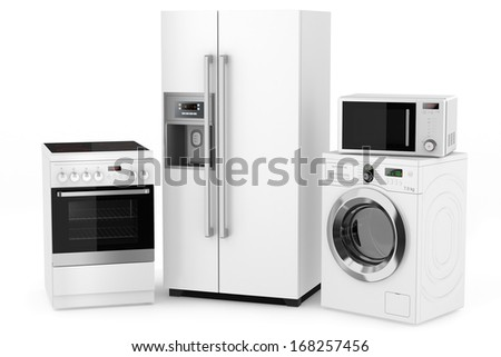 Group of household appliances on a white background - stock photo