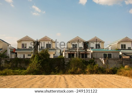 Group of houses in the countryside. Thailand  - stock photo