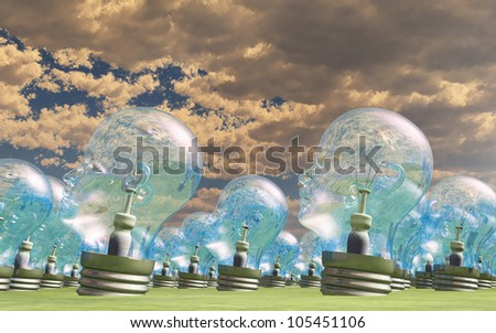 Group of human head lightbulbs in landscape - stock photo
