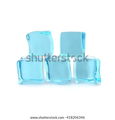 Group of ice cubes isolated on white background. 3d illustration - stock photo