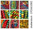 group of images with colorful beads necklaces, Krakow, Poland - stock photo