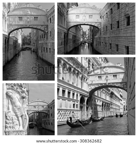 group of images with famous venetian  Bridge of Sighs, Venice, Italy, Europe - stock photo