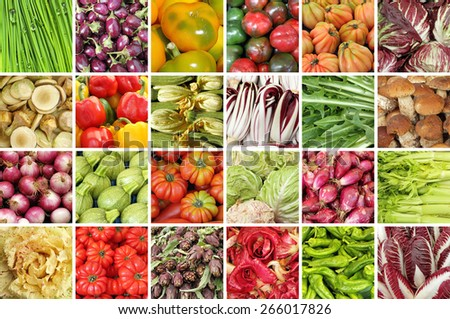 group of images with fresh vegetables on farmers tuscan market  - stock photo