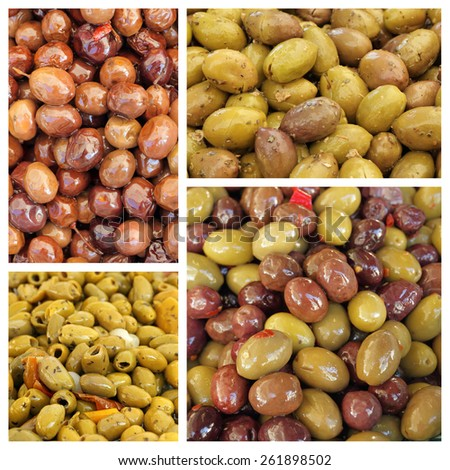group of images with olive snacks  - stock photo