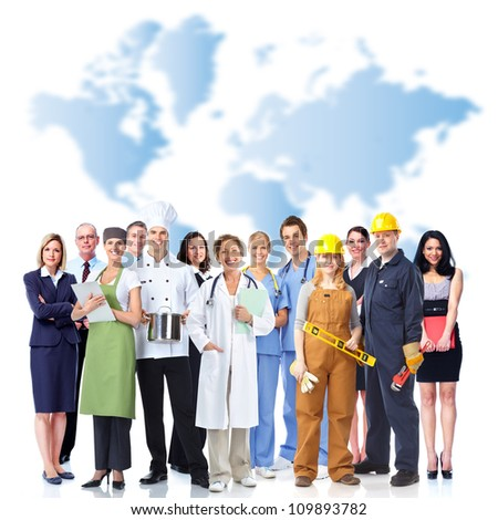 Group of industrial workers. Over world map background. - stock photo