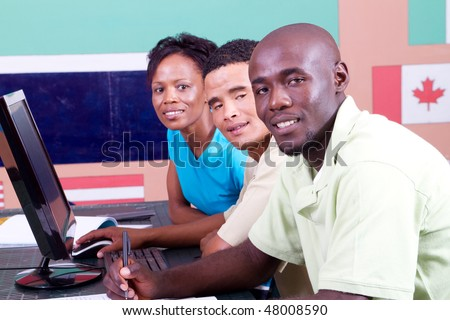 group of international student together - stock photo