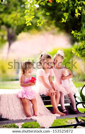 group of kid girl in dance costumes have a fun outdoor - stock photo