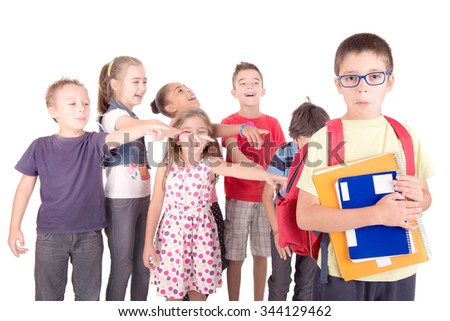 group of kids bullying classmate isolated in white - stock photo