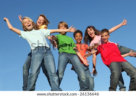 group of kids having fun(SEE MORE IN PORTFOLIO) - stock photo