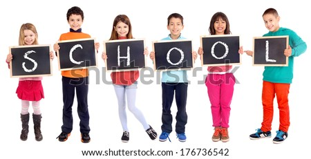 group of kids holding blackboard isolated in white